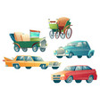 modern and retro cars cartoon collection vector image vector image
