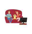 mom dad and their little son sitting on the sofa vector image vector image