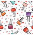 nail polish bottle seamless pattern beauty salon vector image vector image