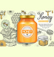 natural honey ads poster template vector image