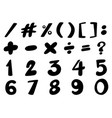 numbers and signs in black color vector image