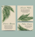 palm leaves retro cards set vector image vector image
