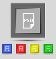 PSD Icon sign on original five colored buttons vector image vector image