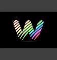rainbow w alphabet letter stripes logo icon design vector image