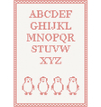 Red knitted alphabet with penguin vector image