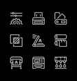 set line icons print vector image vector image