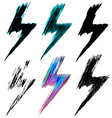 set of black lightning icon vector image vector image