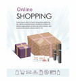 shopping online with gift boxes cosmetics vector image vector image