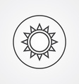 sun outline symbol dark on white background logo vector image vector image