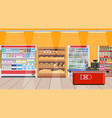 supermarket interior shelves with products vector image vector image