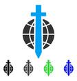 sword globe flat icon vector image vector image