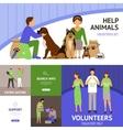 Volunteers flat set vector image vector image