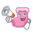 with megaphone sock character cartoon style vector image