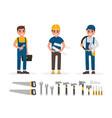 handyman plumber foreman engineer and builder vector image
