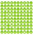 100 startup icons set green circle vector image vector image
