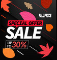 autumn sale special offer up to 30 discount banner vector image vector image