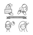 beauty treatment icons facial mask applying vector image vector image