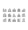 big city buildings linear icons set urban vector image