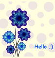 blue flowers on circle background vector image vector image