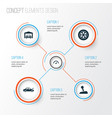 car icons set collection of stick wheel vector image