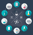 Chemical laboratory flat icon set Scientific vector image
