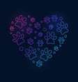 colored paw prints in heart shape line vector image vector image