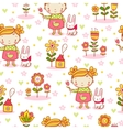 Cute cartoon girl seamless pattern vector image vector image
