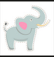 cute elephant cartoon flat sticker or icon vector image vector image