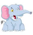 cute elephant cartoon posing vector image vector image