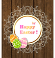 Easter banner with lace and eggs vector image