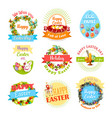 easter egg and rabbit icon set for holiday design vector image vector image