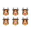 Emotions cow Set expressions avatar bull Good and vector image vector image