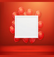 empty white frame on a red wall with flying vector image vector image