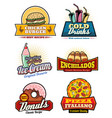 fast food snacks meas and desserts icons vector image vector image
