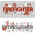 Fire Department Line Banner Set vector image vector image