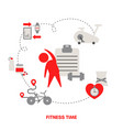 fitness concept with sport icons fitness concept vector image