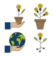 flowerpot lamp hands with bulb icons set vector image