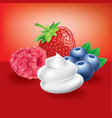 forest fruit strawberry blueberry with cream vector image vector image