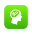 gear in head icon digital green vector image vector image