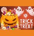 halloween pumpkin trick or treat candies ghosts vector image vector image