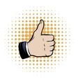 Hand doing a thumb up comics icon vector image vector image