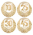 happy anniversary emblems set vintage golden vector image