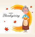 happy thanksgiving day cheerful grandmother vector image vector image