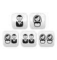 Hetero gay or lesbian wedding buttons set vector image