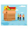 humanitarian aid donate food flat design vector image vector image