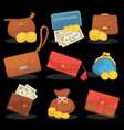 icons set wallets with money shopping vector image