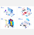 isometric set with seo digital marketing cloud vector image