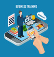 isometric webinar business training concept vector image vector image