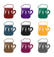 mug of beer icon in black style isolated on white vector image vector image