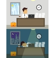 Office worker day and night vector image
